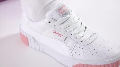 puma white & pink cali trainers