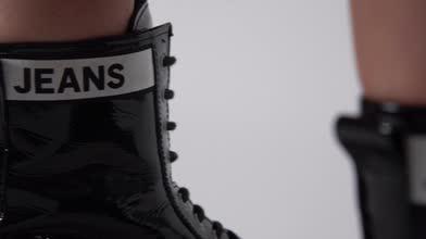 Tommy Jeans Patent Platform Boots Women